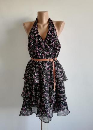 🌹 чёрное платье с воланами в мелкий цветочный принт 🌹 сарафан 🌹 платье миди открытая спина