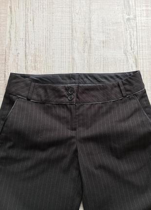 Тонкие брюки из вискозы в мелкую полоску цвета чёрного шоколада размер s франция