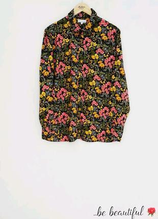 Натуральная  рубашка в цветочный принт xl ексклюзив