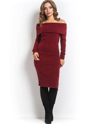 Платье марсала . ангора