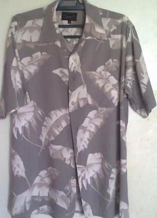 Акция. весенняя до праздников. гавайская рубашка тенниска хб, размер ххл .