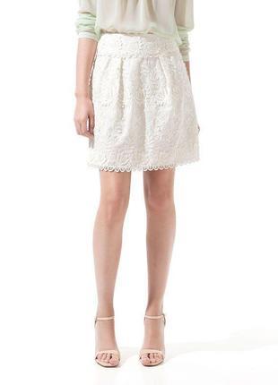 Хлопковая кружевная кремовая юбка белая zara
