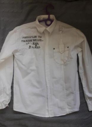 Фирменная котоновая рубашка на мальчика 164