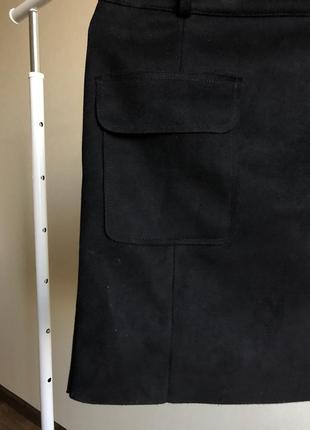 Vero moda чёрная замшевая юбка