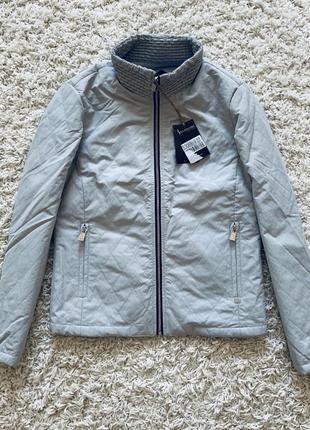 Куртка серая голубая весенняя на молнии ветровка легкая весна непромокаемая стеганая