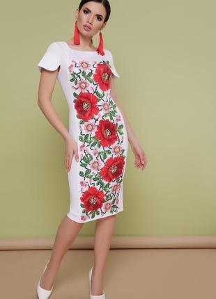 93aecdbe091 Нарядное платье белого цвета с принтом имитирующий вышивку в украинском  стиле