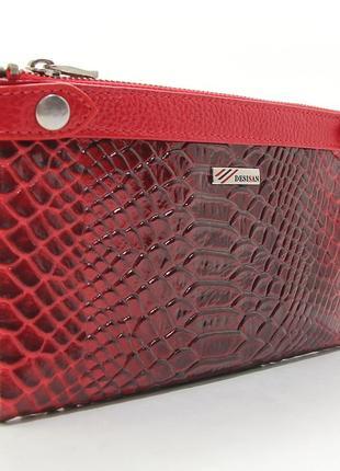 a63a1b62b3d6 Красный кожаный кошелек на молнии и на кнопках фактура под питона