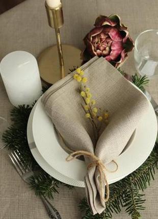Салфетка  натурального цвета. лен 100%. декорирование стола. набор льняных салфеток.