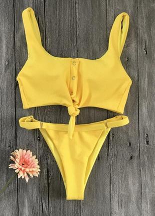 Желтый текстильный купальник в наличии