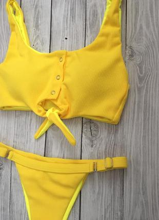 Желтый текстильный купальник в наличии2 фото