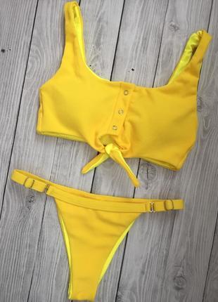 Желтый текстильный купальник в наличии3 фото