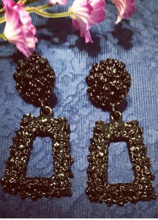 Серьги мини в стиле zara зара черные геометрия сережки винтаж2 фото