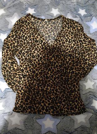 Блузка леопардовая, на запах, масло  , размер оверсайз