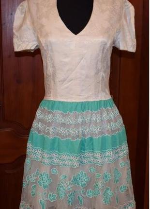 Турецкое платье комбинированное с фатином, 46-48р.