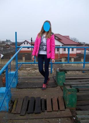 Куртка весна осень ярко розовая кислотная