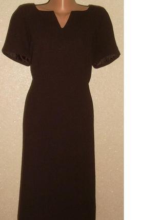 Красивое строгое черное платье с очень плотной ткани, на подкладке, 48-50 р.