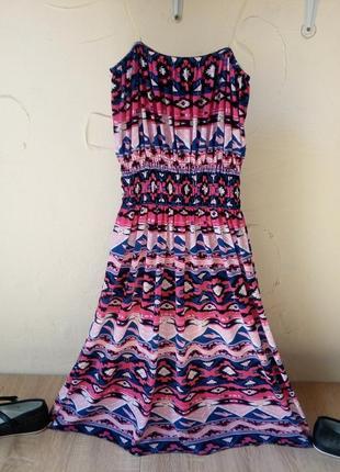 Сарафан розовый орнамент на резинке силиконовые бретельки