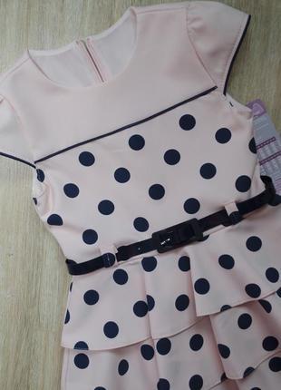 Модное новое платье в горох с поясом короткий рукав