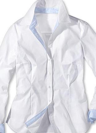 Шикарная белая рубашка из хлопка от тсм tchibo , размер 38,40,42,44,46,48 евро