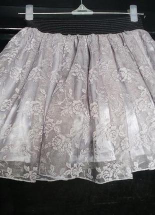 6c76402ce81 Красивая пышная гипюровая юбка с атласным подюбником