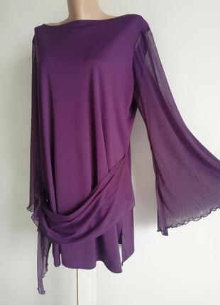 👑 платье прямого кроя с прозрачным расклешенным рукавом👑 фиолетовое платье поясом- бантом👑