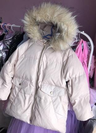 Зимний пуховик пальто куртка для девочки zara