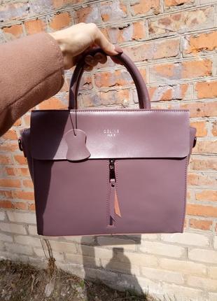 Женская кожаная сумка натуральная кожа кремовая розовая красивая celine на весну новая5 фото
