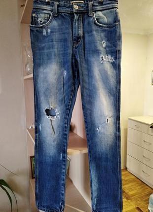 Фирменные бомбезные джинсы zara,плотный зимний котон,р.s/44.