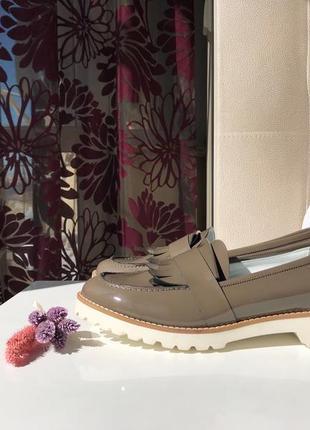 Кожаные туфли, мокасины - лоферы marina rinaldi, max mara, натуральная кожа, оригинал