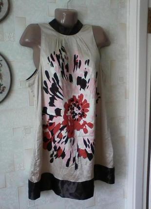 Шелковое платье, шелк 100%, с оголенными плечиками от бренда s.t.i., разм.50-52