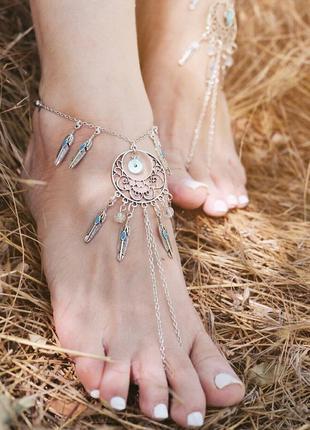 Бохо браслеты на ножку с бирюзой, украшения для ног