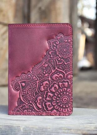 Обложка для паспорта кожаная марсала бордо с орнаментом тиснение