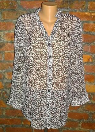 Блуза кофточка большого размера в леопардовый принт