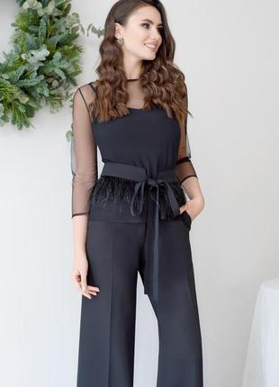 Костюм элегатный прозрачная блуза брюки высокая талия кюлоты палаццо пояс перья