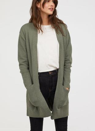 Удлиненный кардиган  легкое пальто прямого кроя с накладными карманами