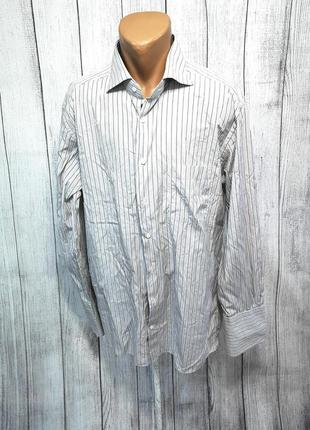 Рубашка стильная ermenegildo zegna, на запонки, cotton, отл сост!