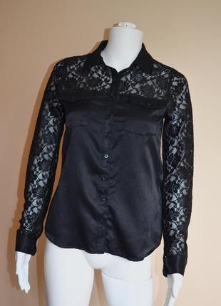 Шелковая блуза с кружевом guess