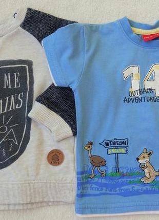 Big sale! комплект набор футболка, кофта свитшот на 6-9 мес1 фото