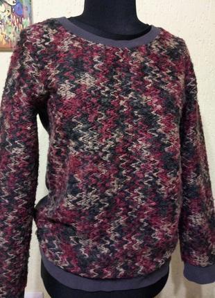 Интересного дизайна толстовка, шерстяной свитер букле от tu