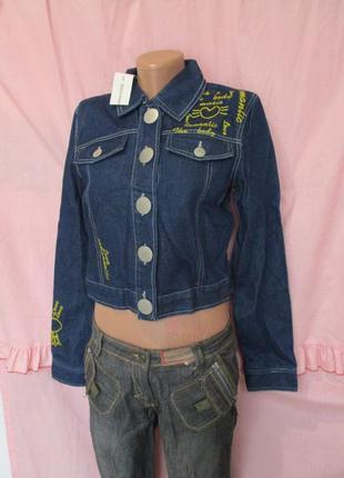 Стильная джинсовка с надписями/вышивкой/джинсовая куртка/блейзер пиджак