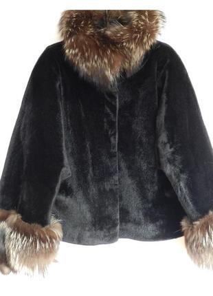 ⛔💣 шубка пальто полушубок плюш  с пушистыми манжетами и воротник нат. мех чернобурка