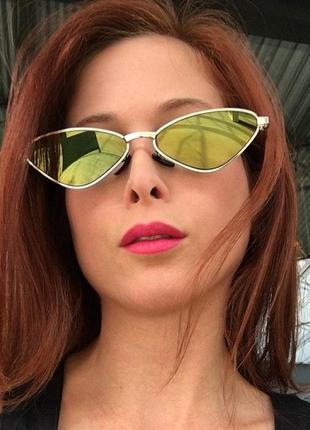 Очки кощки, узкие солцкзащитные очки, винтажные ретро мода 90х женские треугольные очки