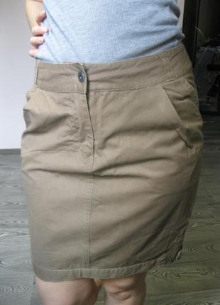 Хлопковая юбка футляр цвета хаки