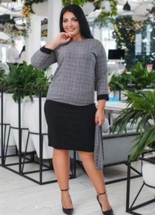 Черная трикотажная юбка батального размера!в наличии есть разные размера от 48-54!
