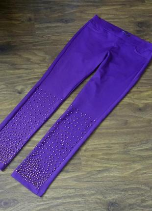 Леггинсы  лосины брюки waggon с жемчугом