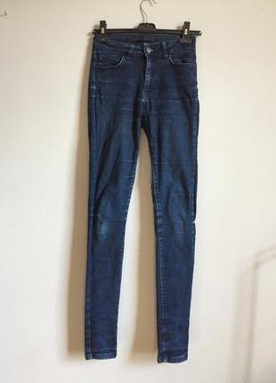 Темно синие скинни ( skinny ) высокая посадка , на талию джинсы