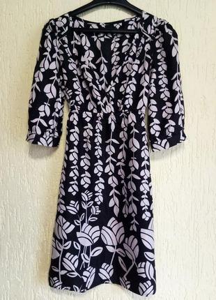 Шелковое -100% шелк -натуральное платье от warehouse с принтом. оригинал