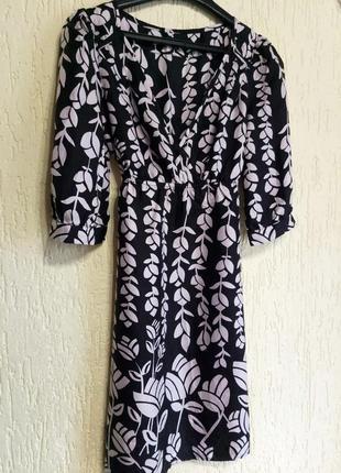 Шелковое -100% шелк -натуральное платье от warehouse с принтом. оригинал3 фото