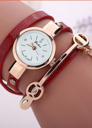 Часы наручные женские с красным ремешком код 193
