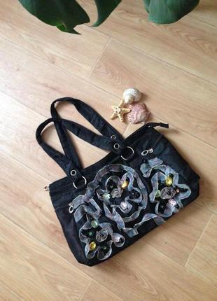 Романтичная плотная вместительная сумка из болони на подкладке